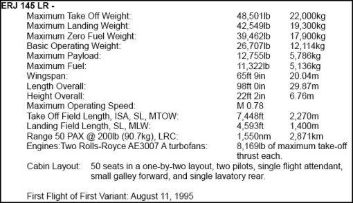 ERJ-145LR Specifications