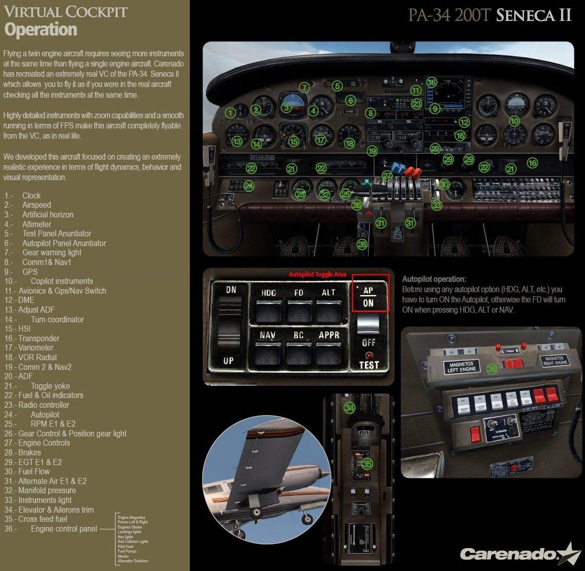 Piper PA-34-200T Seneca II Tutorial & Checklist | FS Brasil