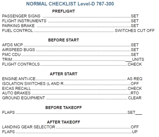 B767-300ER LVLD Checklist