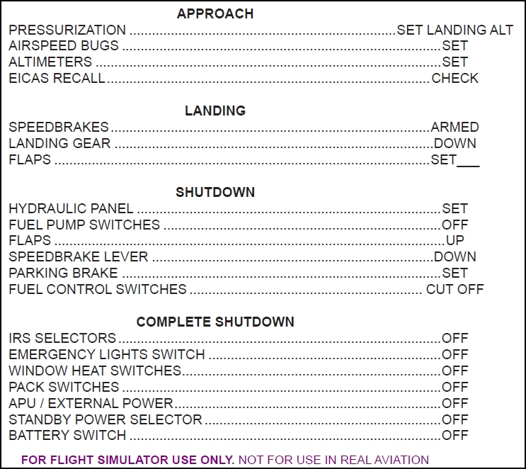 fs checklist