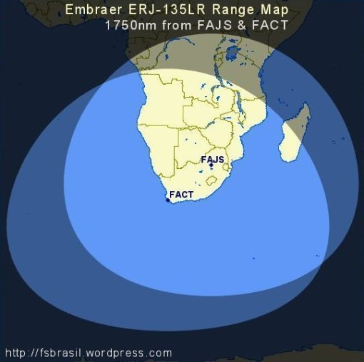 ERJ 135 LR Range Map (1750nm from FACT/FAJS)