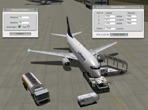 X-Plane Ground Services - Pushback, Refueling